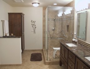 A completed bathroom remodel and link to bathroom remodeling page