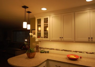 Contemporary White Kitchen Remodel Pendent Lighting